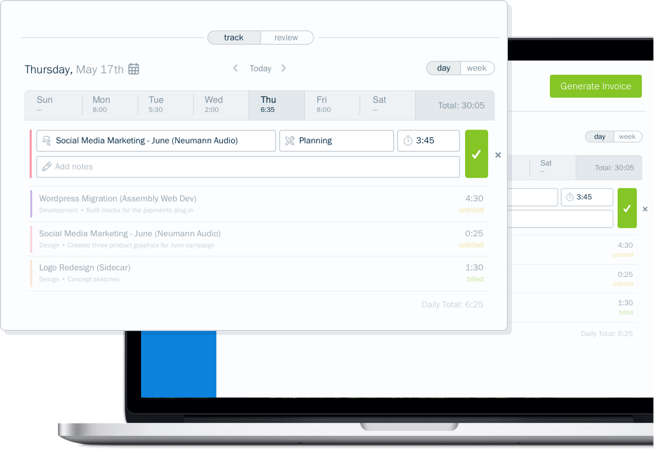Screenshot of time tracking by day in FreshBooks accounting software